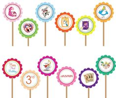 Alice in Wonderland- Printable DIY Custom Party Circle Cupcake Toppers by DesignDreamEtsy, via Flickr