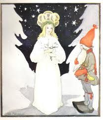 Vintage Christmas Card from Nordic Thoughts, by Aina Stenberg-Masolle ~ Orange Accents Vintage Greeting Cards, Vintage Christmas Cards, Christmas Images, All Things Christmas, Christmas Fun, St Lucia Day, Swedish Christmas, Scandinavian Christmas, Scandinavian Art