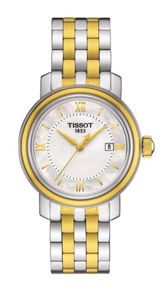 Tissot T-Classic Bridgeport Quartz Mother of Pearl Dial Date Two Tone Stainless Steel Watch# T097.010.22.118.00 (Women Watch)