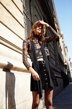 Laura Kampman poses in Zara fall 2015 lookbook