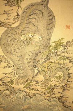 "JAPANESE HANGING SCROLL ""Tiger""  @Carissa Isabel Asian Art, Japanese Art, Tigers, Vintage World Maps, Animals, Japan Art, Animales, Animaux, Animal"