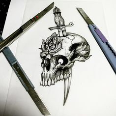 #Skull #tattoo #skulltattoo #knifetattoo #knife