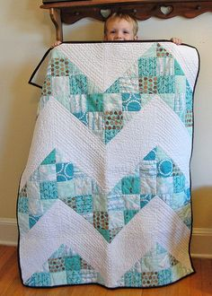 """Nine Patch Chevron quilt 