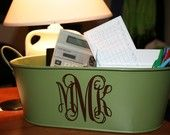 Tin from Target for $2.50. Monogram from Decal Monograms @ etsy. Perfection!