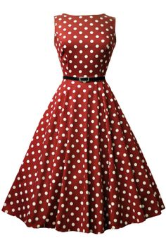 Wine Red Polka Dot Hepburn Dress  http://www.misswindyshop.com/en/shop/brands/lady+vintage/wine+red+polka+dot+hepburn+dress
