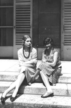 Coco Chanel (Gabrielle Bonheur Chanel, 1883-1971) (right) with Lady Abdy at Fanbourg St Honore in France, 1929