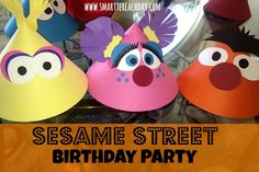 Tons of ideas & pics for Sesame Street Birthday party! Games, favors, healthy snacks, party hats...Use a few of these even and you'd have a cute little party!