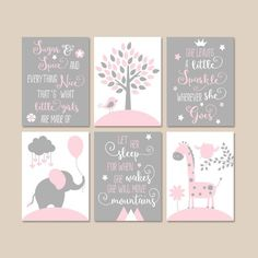 This PINK GRAY Quote Nursery Decor Girl Animal Nursery Wall Art is just one of the custom, handmade pieces you'll find in our wall hangings shops. Baby Elephant Nursery, Elephant Canvas, Animal Nursery, Koala Nursery, Babies Nursery, Grey Elephant, Nursery Canvas, Nursery Room, Nursery Wall Art