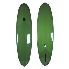 7'6 Driftwood Caravan Surfboards DC Double ender with full dirty green resin tint, deck patch, tail patch and glass on leash loop with gloss / polish finish over 6 oz. glass