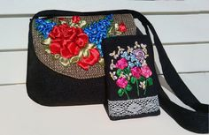 Embroidered bag Canvas tote shoulder bag by beautifullbags on Etsy