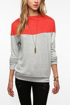 Daydreamer LA Colorblock High Neck Tee  #UrbanOutfitters