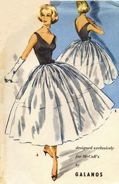 Beautiful!  |  McCall's 4045; ©1957; MISSES'EVENING DRESS & PETTICOAT IN TWO LENGTHS. Designed by James Galanos.