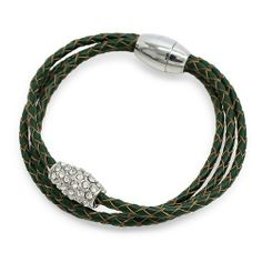 "Braided Leather Pave Crystal Magnetic Closure Triple Rows Wrap Bracelet Green Accessoriesforever. $22.00. Color: Silver, Clear, Green. Style: Triple Rows, Wrap, Magnetic Closure. Material: Clear Crystals, Green Leather, Rhodium / Silver Plated. Nickel / Lead Compliant. Dimensions (Size): Approx. 8"" Long (For Wrist Sizes Up to 8"")"