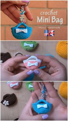 Video for how to crochet this teeny tiny little purse, to use as a key chain, bag charm, or just for fun! Gifts just because Crochet Keyring Tiny Purse Pattern Free Video - Crochet News Purse Patterns Free, Crochet Purse Patterns, Knitting Patterns, Tote Pattern, Sewing Patterns, Crochet Amigurumi, Crochet Toys, Crochet Gifts, Cute Crochet