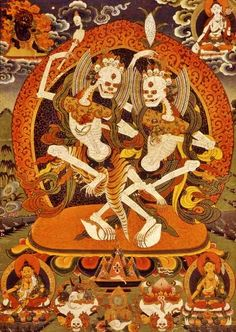 In the sacred Tibetan Skeleton dance two worldly deities dance to protect the cemetery grounds, symbolic of mortality and the ephemeral nature of this world. Tibetan Symbols, Buddhist Symbols, Tibetan Art, Tibetan Buddhism, Buddhist Art, Skeleton Dance, Thangka Painting, Vedic Astrology, Graffiti