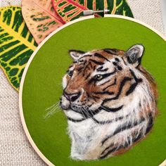 """7"""" embroidery hoop Needle felted tiger, Wool painting. Great gift, tropical art, colorful art, nursery art"""