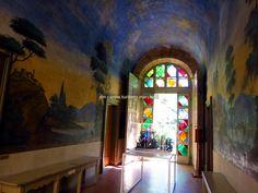 Frescoes and glass door in the Botanic garden, Urbino. Marche - Italy info: http://www.urbino2019.eu