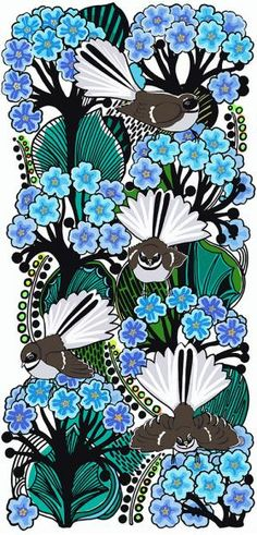 Fantails on the Forget-me-not. Limited edition of 50.  26 x 56.5 cms. Lightfast print on 300gsm fine art paper by Jane Galloway http://www.palmprints.co.nz/fantails-in-the-forget-me-nots-c-600.html