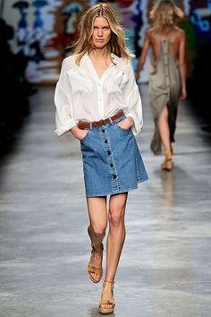 jean skirt white shirt - Tìm với Google | jean skirt white shirt ...