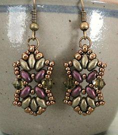 Linda's Crafty Inspirations: Bracelet of the Day: Tampa Bracelet Variation - Olive & Plum Beaded Earrings Patterns, Seed Bead Earrings, Diy Earrings, Bracelet Patterns, Beaded Bracelets, Peyote Bracelet, Hoop Earrings, Seed Beads, Making Ideas