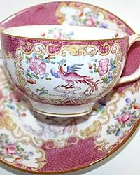 Vintage Minton Pink Cockatrice Tea Cup and Saucer-Sulgrave Shape, Victorian,hand painted, china,blue,floral, fruit,pate sur pate,teacup