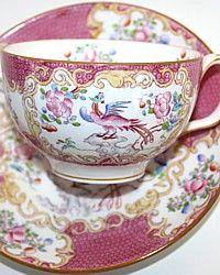 Vintage Minton Pink Cockatrice Tea Cup and Saucer-Sulgrave Shape, Victorian,hand painted, china,blue,floral, fruit,pate sur pate,teacup