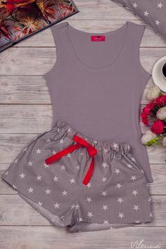 Комплект жіночий для сну та відпочинку • сіра майка тасірі з білими зірочками шорти • інтернет магазин • vilenna.ua