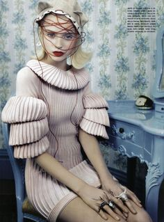 Ah!!!n blush pink knit dress with multi-tiered bell sleeves