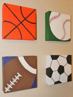 CLEARANCE Original Art Acrylic Painting on Canvas Grouping 6 x 6 Sports Themed Baseball Football Basketball Soccer Ball