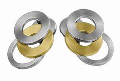 Reiner Edelstahl mit feinen Diamanten und edlen Steinen: Ohrstecker 18 mm 411848G0