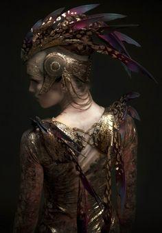 Headdress & Winged Harness designed and made by Rob Goodwin    Costume Design: David Bamber     Photographer: Diego Indraccolo     Ballerina: Ksenia Ovsyanick