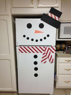 My refrigerator snowman! Office Christmas, Christmas Toys, Christmas Crafts For Kids, Christmas Projects, Simple Christmas, All Things Christmas, Christmas Holidays, Christmas Door Decorations, Holiday Decor