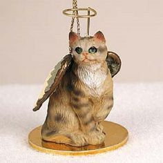 Shorthaired Brown Cat Angel Ornament