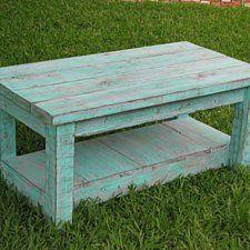 Rustic Coffee Table with Shelf in Aqua