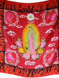 vintage MOSCHINO silk scarf / Our Lady of Guadalupe / saints santos / novelty print scarf / large square scarf / vintage scarf by SemiPreciousGarnetts on Etsy https://www.etsy.com/listing/217435839/vintage-moschino-silk-scarf-our-lady-of