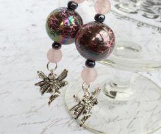 Fairies in pink charm dangle earrings by OnTheWireByMaryJane, $15.00
