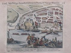 Engraving Siege of Nijmegen during the Eighty Years War with Martin Schenk in the foreground.