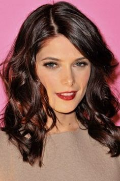 deep brunette with dark red highlights - mmm think Emma Stone.. beautiful example of matching green eyes and reds