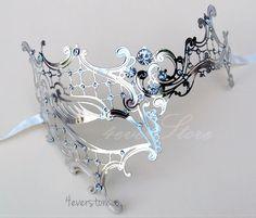 New Popular- Phantom Filigree Metal Venetian Masquerade Mask - Swarovski Crystal Inspired Gems (Silver Themed)