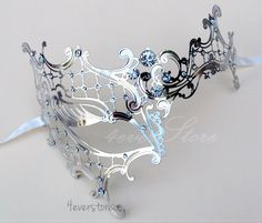 New Popular- Phantom Filigree Metal Venetian Masquerade Mask - Swarovski Crystal Inspired Gems (Silver Themed)