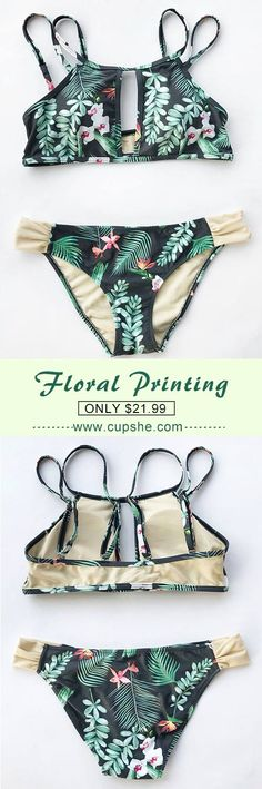 Treat yourself to something special. Only $21.99 & great quality and fast shipping! With unique floral printing and high cut, this Cupshe Bikini Set is super flattering. Check it now!