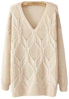 Beige Long Sleeve V Neck Sweater EUR€22.65