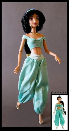 custom made disney barbie dolls Princesa Disney Jasmine, Disney Princess Jasmine, Disney Barbie Dolls, Disney Princess Toys, Official Disney Princesses, Barbie Wedding Dress, Doll Repaint, Barbie World, Pretty Dolls
