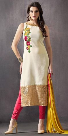 Straight Cut Style White Color with Resham Work Astounding Salwar Kameez.