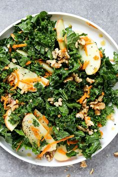 Everyday Kale and Apple Salad with Maple-Mustard Dressing   www.floatingkitchen.net