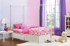 Metal Twin Canopy Bed Frame Bedroom Furniture Girls Princess Cinderella White