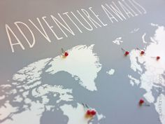 DIY Travel Map, World Map Poster With Tacks or Heart Stickers, Adventure Awaits Map of World Poster With Countries Outlined and Pins, 16x20 by PaperPlanePrints on Etsy https://www.etsy.com/ca/listing/130179388/diy-travel-map-world-map-poster-with