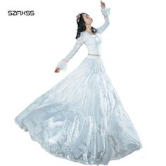 Beach Dresses Woman 2017 Summer Elegant Two piece Lace Maxi Dress White Color Sexy V-Neck Long Sleeve Fashion Fairy Vestidos