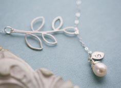 Leaf initialFreshwater Pearl lariat by tyrahandmadejewelry on Etsy