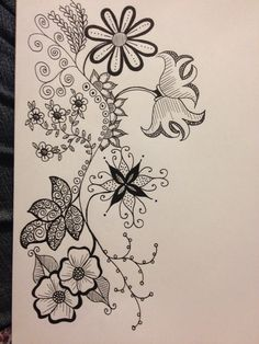 Afternoon of Flowers Doodle Designs, Doodle Patterns, Zentangle Patterns, Flower Patterns, Embroidery Patterns, Fish Coloring Page, Coloring Pages, Wreath Drawing, Drawing Journal